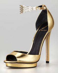 """Shoe du Jour"" Cassise Metallic Leather Chain-Strap Sandal by B Brian Atwood at Neiman Marcus."