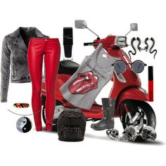 """""""Red Hot Biker Babe"""" by daincy on Polyvore"""