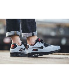 huge discount 19576 425d8 Nike Air Max 90 Essential Grey Black Red Trainers Clearance Nike Air Max  Trainers, Red