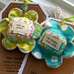 Christmas ornaments Fabric Flowers Flower by tracyBdesigns on Etsy, $11.00
