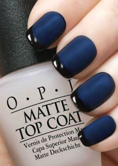 A manicure is a cosmetic elegance therapy for the finger nails and hands. A manicure could deal with just the hands, just the nails, or Blue Matte Nails, Navy Blue Nails, Matte Black, Matte Nail Polish Opi, White Nails, Glitter Nails, Navy Blue Nail Polish, Navy Nail Art, Black Manicure