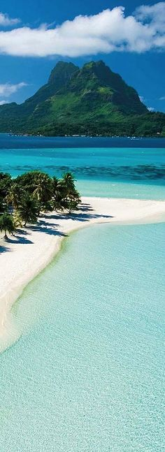 Bora Bora, French Polynesia. Tropical vacation. Sandy beaches. Tropical water. Dream vacation. Sunny skies. Blue water. Warm water. Tropical destination.