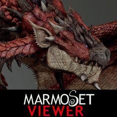 Marmoset Viewer   - Fan art  Liolaeus/Rathalos(MonsterHunter), YOSUKE ISHIKAWA on ArtStation at https://www.artstation.com/artwork/G8AxQ