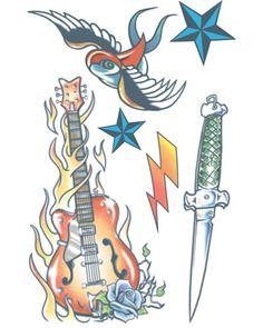 Rock Star - Sold our Souls - Temporary Tattoos - Tinsley Transfers Soul Tattoo, Temp Tattoo, Large Temporary Tattoos, Large Tattoos, Free Tattoo Designs, Tattoo Transfers, Tattoo Kits, Family Halloween Costumes, Star Tattoos