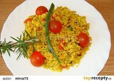 Přílohový bulgur Fried Rice, Risotto, Fries, Ethnic Recipes, Food, Bulgur, Red Peppers, Essen, Nasi Goreng