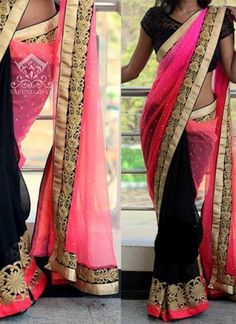 Pink Black Embroidery Work Net Georgette Half Designer ' Sarees http://www.angelnx.com/featuredproduct/