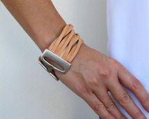 Brazalete, pulsera en 4 colores, con 24 k de oro o de plata de cuero. LC02