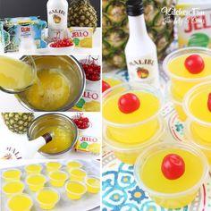 Pina Colada Jello Shots - Super Bowl Party just got a whole lot more fun! Pina Colada Jello Shots - Kitchen Fun With My 3 Sons Malibu Jello Shots, Margarita Jello Shots, Best Jello Shots, Pina Colada Jello Shots Recipe, Jello Shooters, Jello Shots With Rum, Lemon Jello Shots, Alcohol Jello Shots, Drinks Alcohol