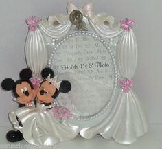Disney Mickey Minnie Mouse Wedding Photo Frame Picture Theme Parks NIB