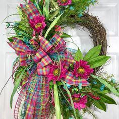 Whimsical Blue, Green, and Pink Spring or Summer Round Grapevine Wreath Diy Wreath, Door Wreaths, Grapevine Wreath, Wreath Ideas, Swag Ideas, Burlap Wreath, Decor Ideas, Easter Wreaths, Christmas Wreaths