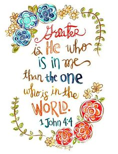 Scripture Wall Art. Bible Verse Art. Christian Art. 1 John 4.4. Greater is He who is in me. Fine Art Print. https://www.etsy.com/listing/203115167/scripture-wall-art-bible-verse-art?ref=shop_home_feat_1 Scripture Wall Art, Bible Verse Art, Scripture Quotes, Scriptures, Greater Is He, 1 John, Christian Art, Throw Pillow, Meaningful Quotes