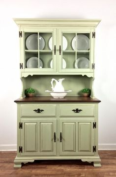 """""""This kitchen hutch turned out so pretty! This piece was brought to us by a client and made over using General Finishes Bayberry Green Chalk Style Paint and glazed in Antique White Milk Paint and Van Green Furniture, Deco Furniture, Refurbished Furniture, Paint Furniture, Repurposed Furniture, Cheap Furniture, Kitchen Furniture, Furniture Makeover, Vintage Furniture"""