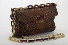 bolsa d epython com alça corrente de resina -caramelo ref 373
