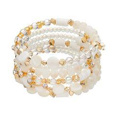 White Bead & Composite Shell Disc Coil Bracelet, White Oth