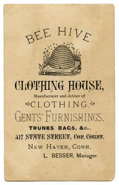 Vintage Advertising Ephemera - Bee Hive Clothing