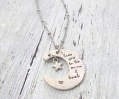Hey, I found this really awesome Etsy listing at https://www.etsy.com/listing/553989495/i-love-you-to-the-moon-and-back-necklace