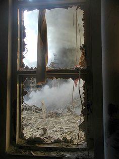 Devastation, through a broken window...