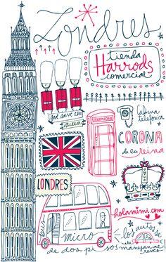 Illustration & lettering  Londres - London