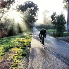 It's early morning, the sun is coming up. It's fresh out there but where else would you be but out #cycling