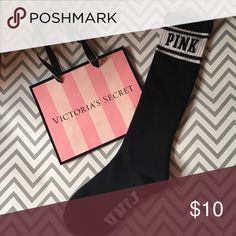 Victoria's Secret pink high knee socks Brand new without tags.   Victoria's Secret Pink socks. Depending on height they hit upper calf to knee.   PRICE IS FIRM AND NO FREE SHIP   Will bundle to save buyers on shipping! Check out my page for other Victoria's Secret items. PINK Victoria's Secret Accessories Hosiery & Socks