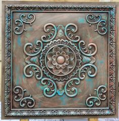 Etsy :: Your place to buy and sell all things handmade tapezieren faux painted ceiling tiles antique multicoloured embossed Photography Background panels boards free postage Faux Tin Ceiling Tiles, Tin Tiles, Tin Ceiling Kitchen, Kitchen Backsplash, Ceiling Decor, Ceiling Design, Do It Yourself Inspiration, Ceiling Panels, Idee Diy
