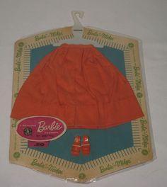 1960's  Mattel  Barbie Pak Orange Gathered Skirt  MOC NRFP  MH38