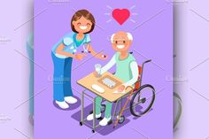 Nurse with Patient in Hospital. Infographic Elements