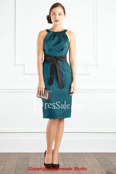 Amazing Knee-length Sheath Scoop Neckline Dress with Sash COLOR OPT