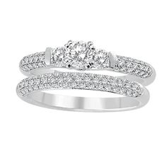 14K White Gold Vintage Wedding Set.    http://www.thediamondstore.com/products/engagement-rings/14k-white-gold-vintage-wedding-set-%7C-ash23581m/6-690