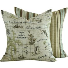 Tommy Bahama Caribbean Ocean Outdoor Pillow by ChloeandOliveDotCom, $36.00
