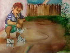 Chlapček s papierovými lodičkami / ArtDia - SAShE. Painting, Fictional Characters, Art, Art Background, Painting Art, Kunst, Paintings, Performing Arts, Fantasy Characters