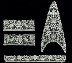 """Belgium, Brussels,   Bertha, Dress Front, Collars, and Two Cuffs, c. 1900  Cotton, needle lace of a type known as """"Point de Gaze""""- Art Institute of Chicago"""