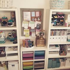 Craft room, ikea shelves, rainbow, organizing, craftroom, craft space, martha stewart craft furniture