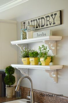 Keep your laundry room organized with DIY open shelving. All you need is shelf corner brackets, paint and glue!