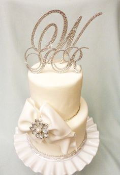 Monogram Cake Topper - Brush Metal - Swarovski Crystal Cake Topper