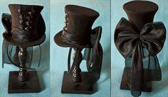Items similar to Cunene Goth Black Ribbon Corset Mini Top Hat on Etsy Mode Steampunk, Steampunk Top Hat, Victorian Steampunk, Steampunk Costume, Steampunk Clothing, Steampunk Fashion, Gothic Fashion, Victorian Fashion, Victorian Costume