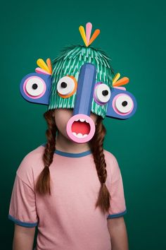 "Amusing paper masks by London-based art director Javier (a. Lobulo Studio) created for the ""Grec"" (Greek in Catalan) Festival of Barcelona. Paper Craft Work, Paper Art, Paper Crafts, Cut Paper, Diy With Kids, Colossal Art, Masks Art, Art Plastique, Mask Design"