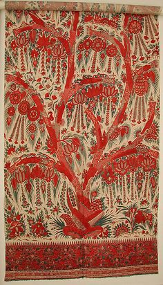 Palampore - Bedcover or hanging - Late century - India - Cotton; plain weave, mordant painted and dyed, resist dyed Textile Patterns, Textile Prints, Textile Design, Textile Art, Antique Quilts, Vintage Textiles, Chintz Fabric, Indian Textiles, Sri Lanka