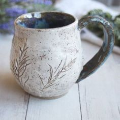 Image of Nature Mug, Made with Pressed Flowers, Ceramic Coffee Cup Made in USA