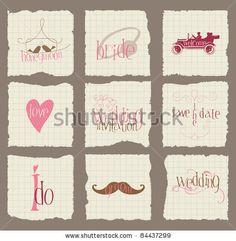 stock vector : Paper Love and Wedding Design Elements -for invitation, scrapbook in vector