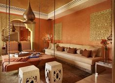 Villa in Qatar designed by Katharine Pooley. This majlis is a mix of traditional Arabic elements with contemporary materials + taste.