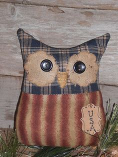 1 Primitive Patriotic Americana USA Hoot Owl Bowl Filler Ornie Ornament Tuck #Primitive #ChooseMoosePrimitiveDesigns