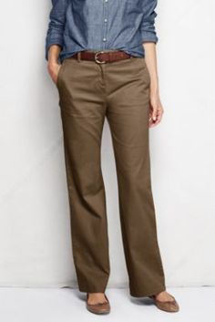 Women's Fit 2 Mid Rise Stretch Chino Trousers from Lands' End Black, 30 in inseam, size 10