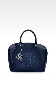 Armani Jeans Women BAG IN PATENT FAUX LEATHER WITH PENDANT, - Armani.com 74424d57e13