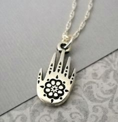 Sterling Silver Chain Silver Henna Hand Charm by lucindascharms, $22.00