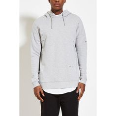 Forever 21 Men's  Distressed French Terry Hoodie ($25) via Polyvore featuring men's fashion, men's clothing and men's hoodies
