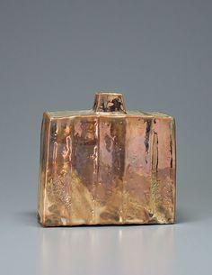 KEN MATSUZAKI - vase, yohen shino gold glaze