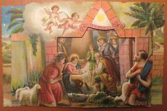 Antique Postcard: Christmas Noel Nativity Layered (made in Italy) 1940's