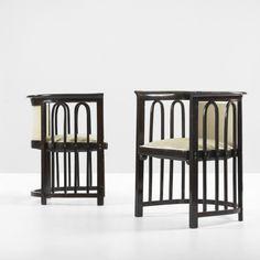 JOSEF HOFFMANN    armchairs, pair    Jacob & Josef Kohn  Austria, c. 1908  lacquered beech, mohair  23.5 w x 22.5 d x 30 h inches