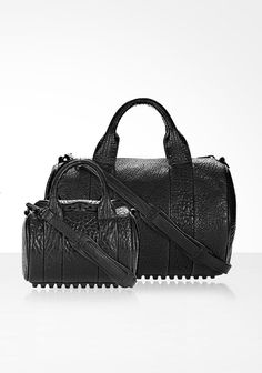 MINI ROCKIE IN PEBBLED BLACK WITH MATTE BLACK | Shoulder Bags | Alexander Wang Official Site